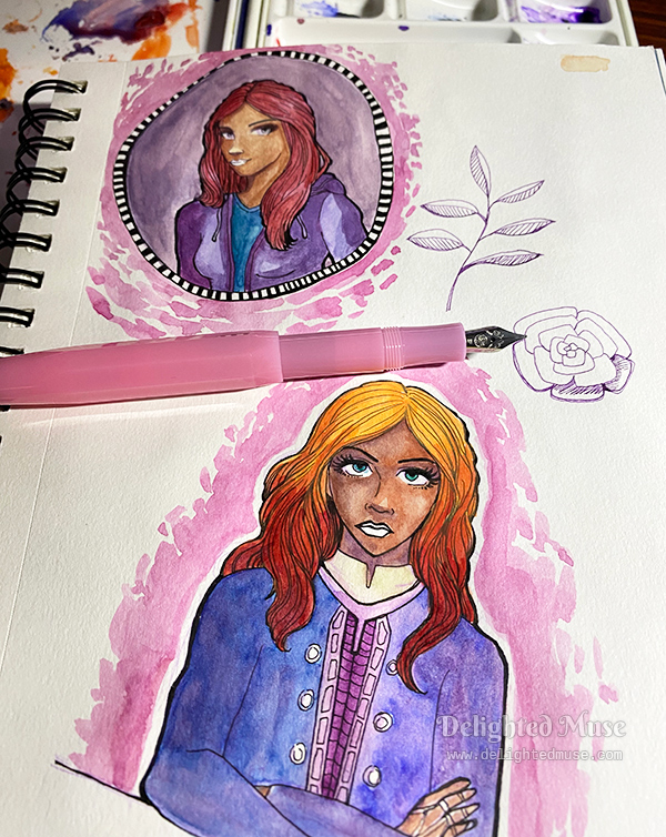 An open sketchbook with two character portraits, with a pink fountain pen on top