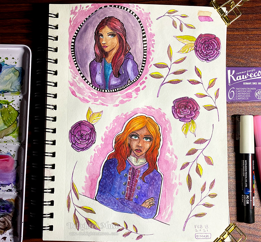 A photo of a sketchbook page showing two women, with decorative leaves and flowers. Done in watercolor. Arranged around the sketchbook are painting and drawing supplies.