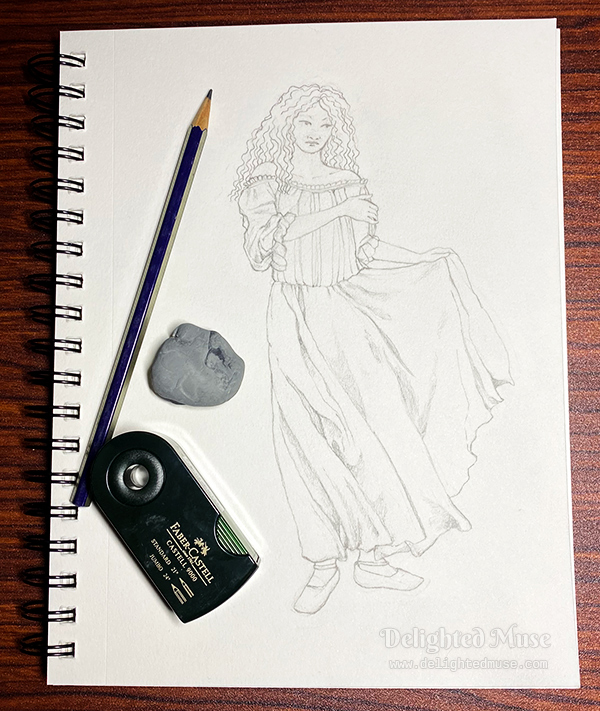 A sketch in pencil of a woman wearing a long chemise