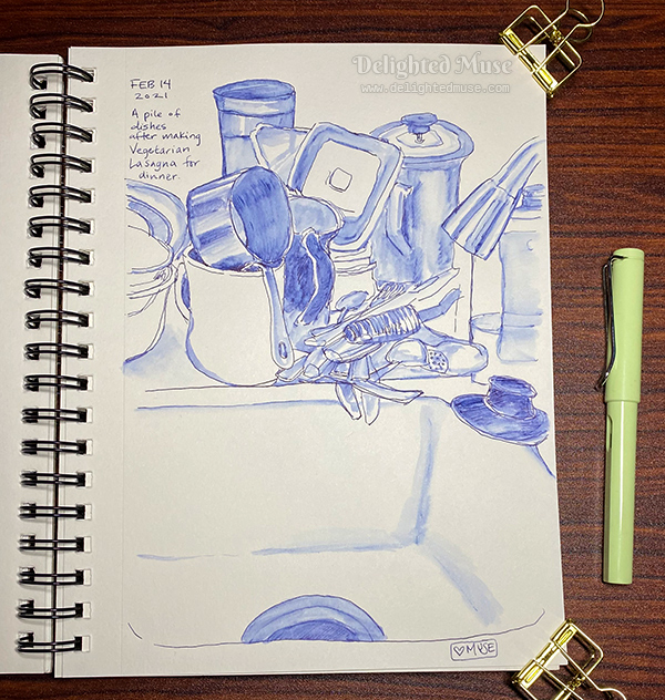 A sketchbook page showing a drawing of dishes next to a sink, in a rough style with a fountain pen and ink wash