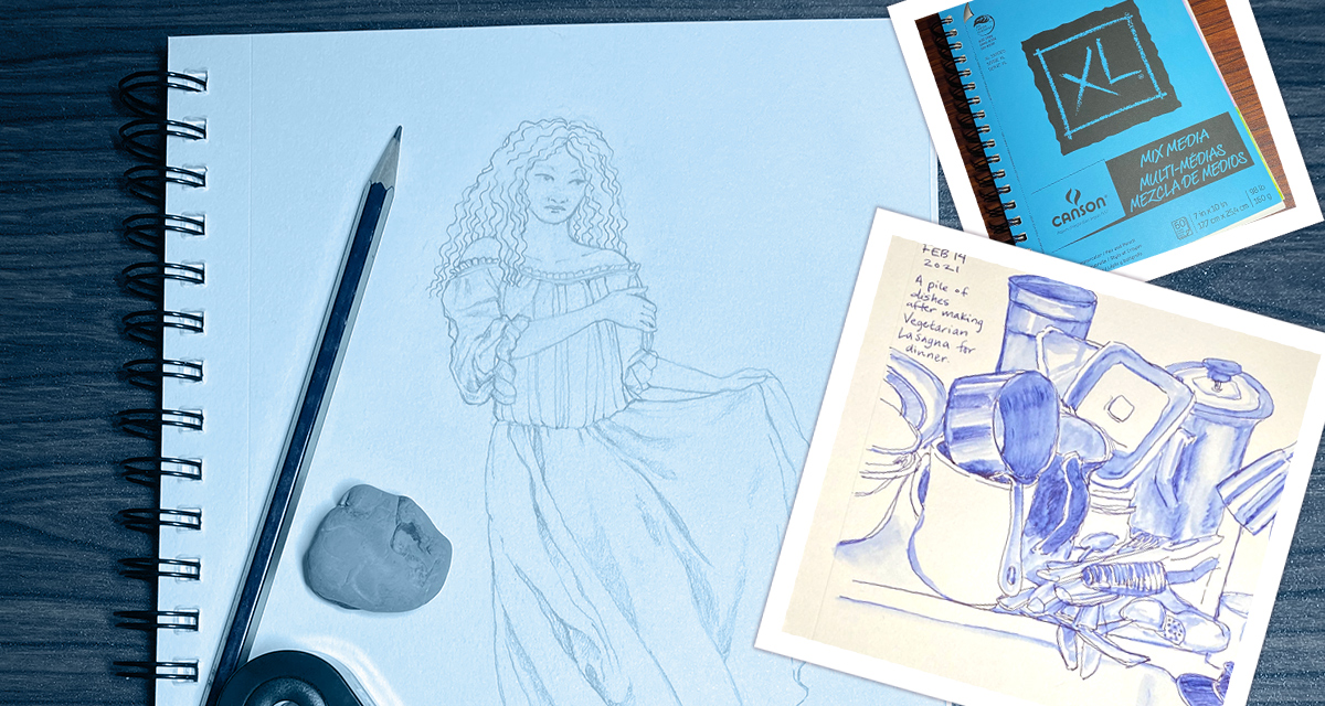 Photo collage of a sketch of a woman in a chemise, a blue sketchbook cover, and a drawing of a pile of dishes