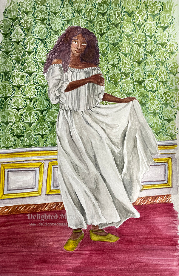 Watercolor painting of a black woman with long hair, wearing a chemise and standing in front of decorated Baroque style wall
