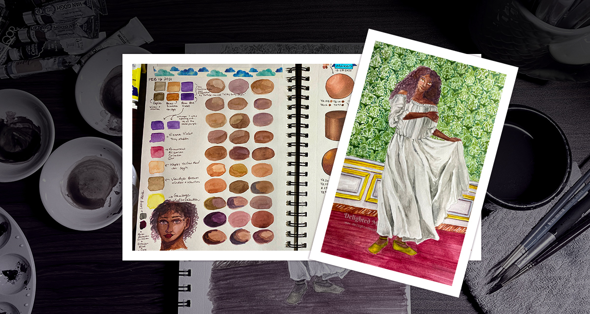 A painting of a black woman in a chemise and a sketchbook page of skintones swatched from watercolor mixes