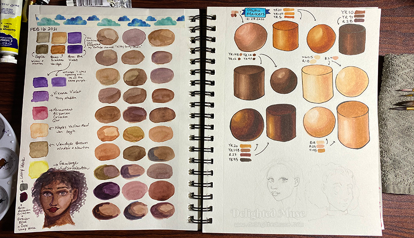 An open sketchbook showing two pages - one with watercolor swatches of skin tones and one of marker drawings of spheres and cylinders in skintones