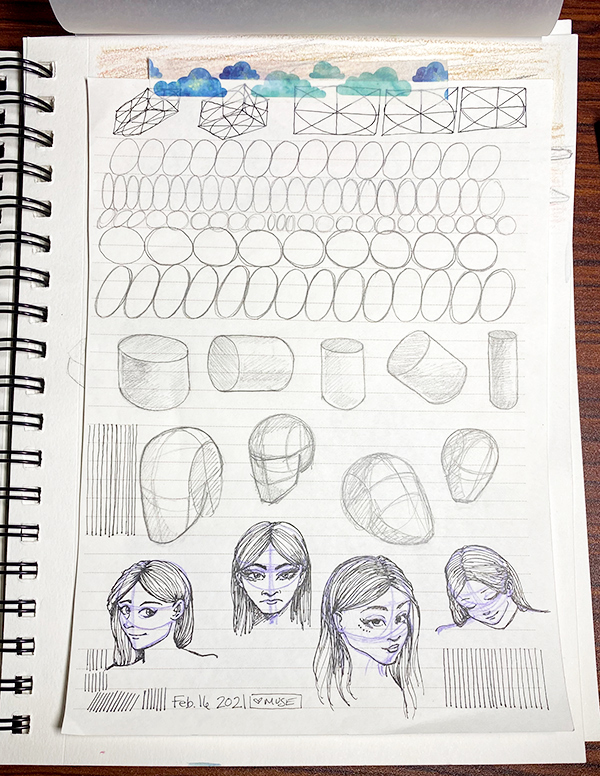 A notebook page of drawing drills and four cartoon faces, taped into a sketchbook