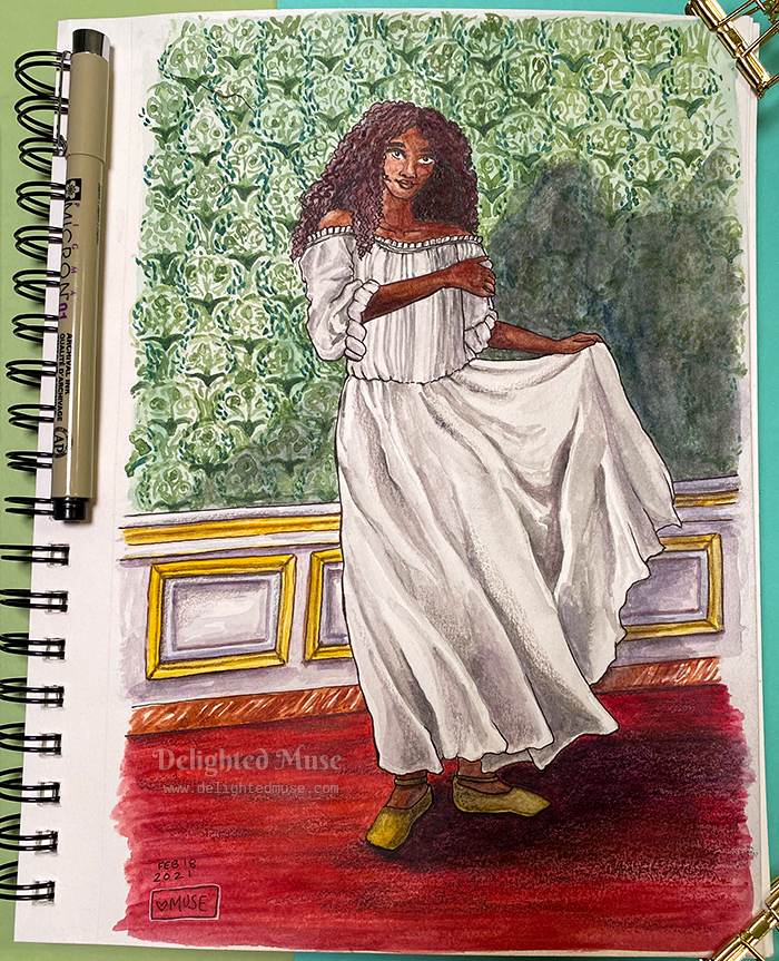 A watercolor painting of a black woman in a chemise, standing on a red carpet and in front of a patterned green wallper