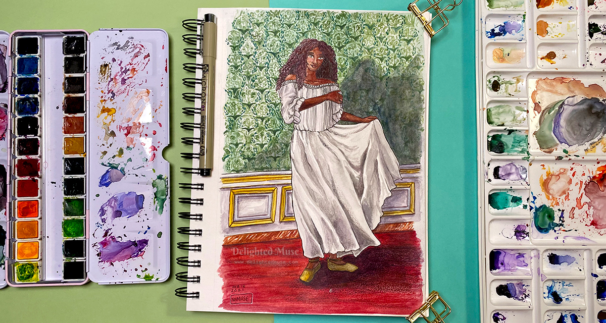 A watercolor painting of a black woman in a chemise, standing on a red carpet and in front of a patterned green wallper. There are water color palette next to the painting