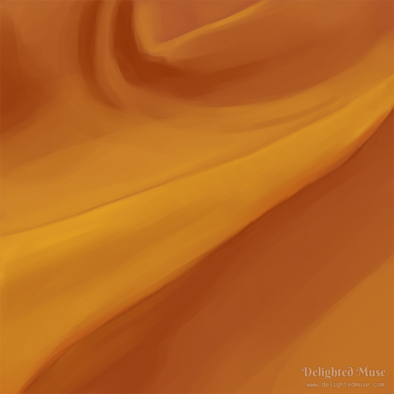 A digital painting of orange fabric with sweeping folds