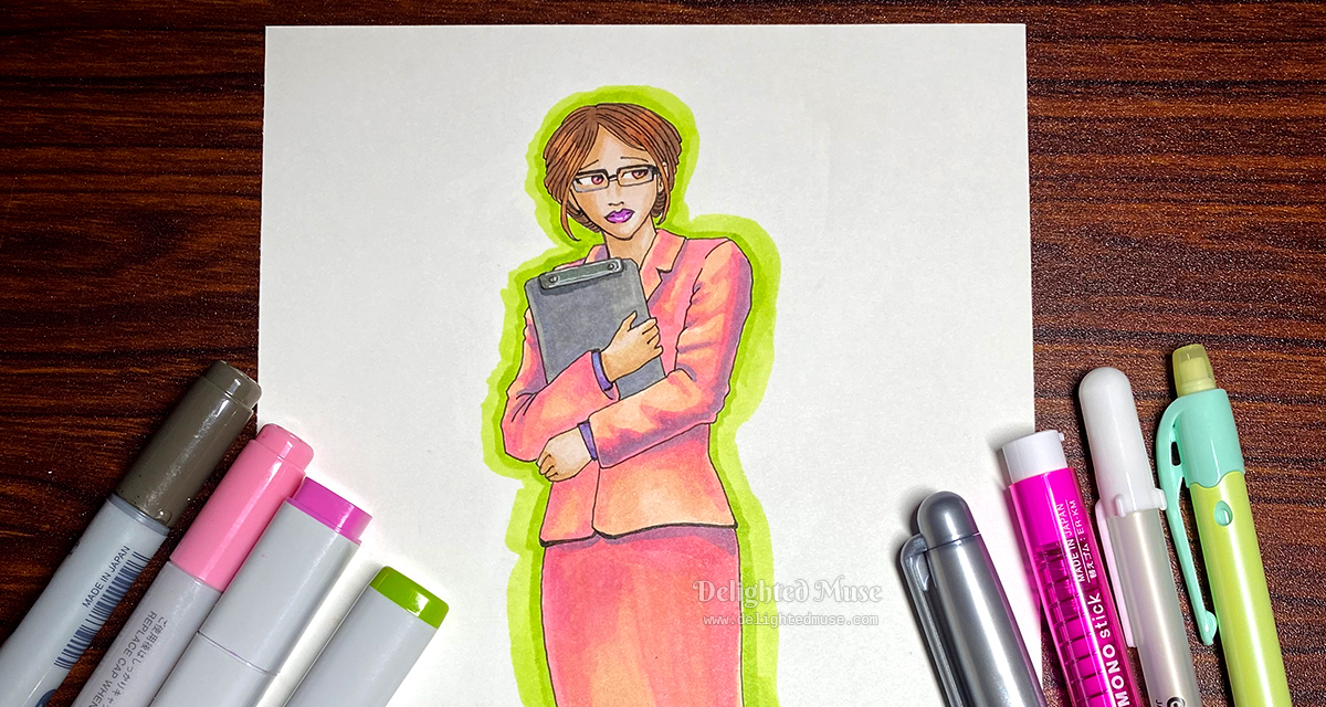 Stylized drawing of a woman in a pink suit holding a clip board and looking pensive. Art supplies of markers and pens surround the drawing.