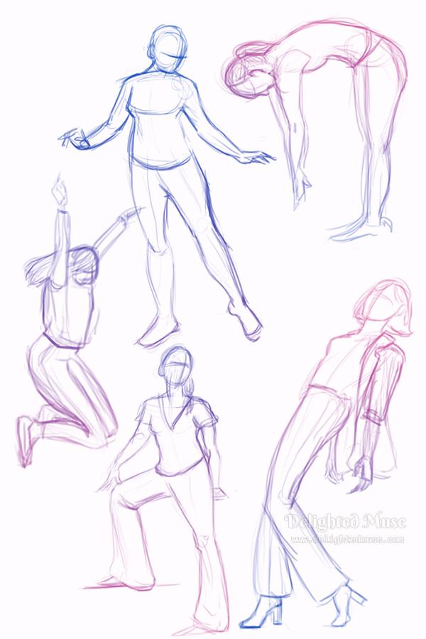 Digital gesture drawings of five figures in action poses