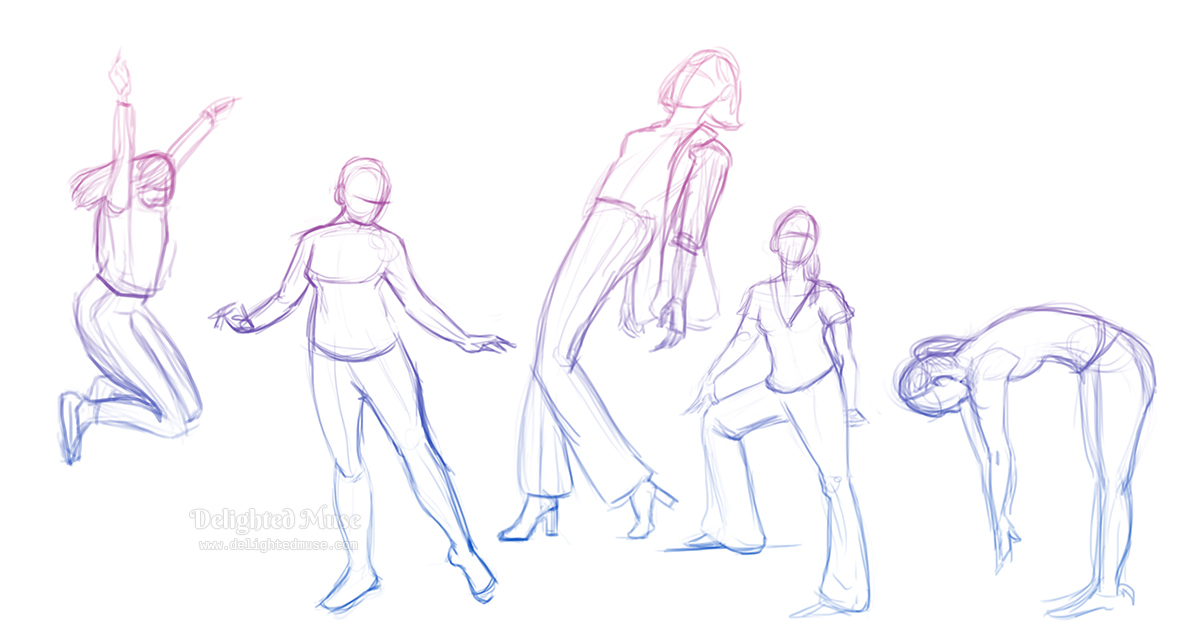 Digital gesture drawings of five figures in action poses