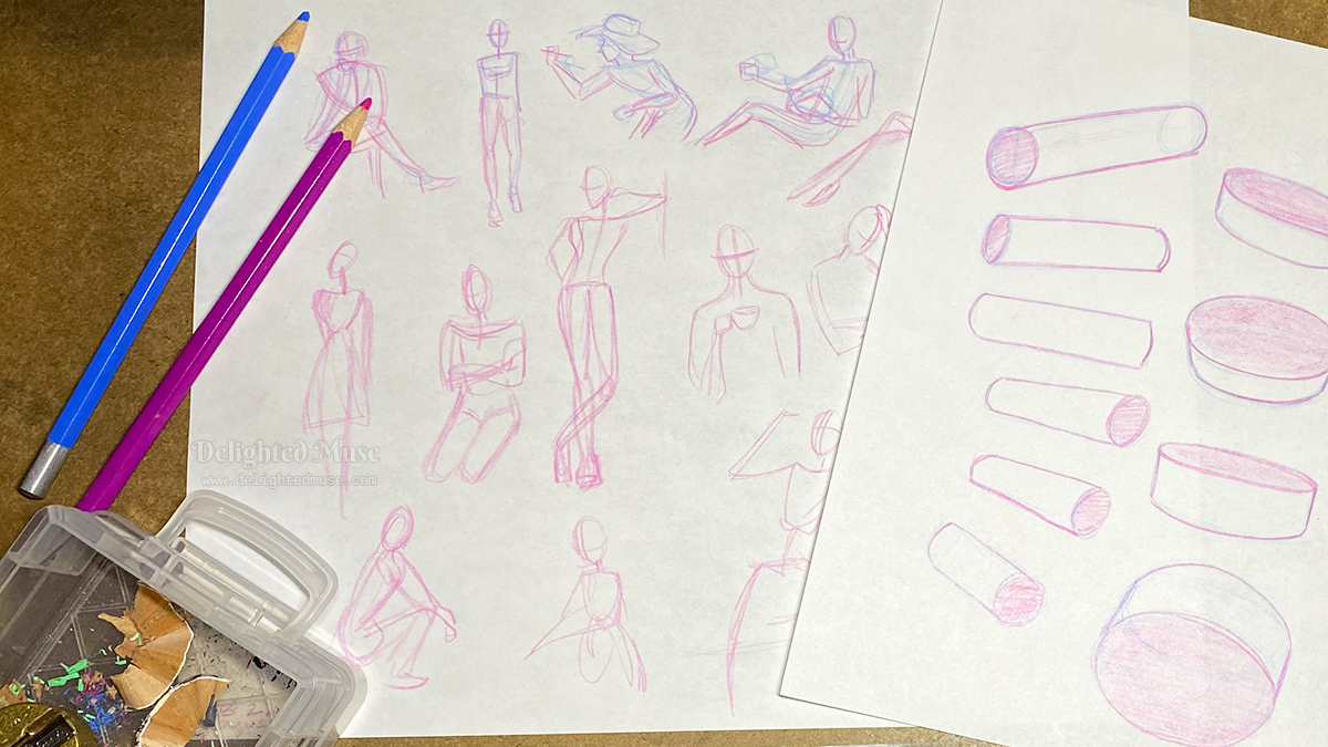 Two sheets of drawing drills, one of gesture drawings and the other cylinders, with two pencils next to the paper