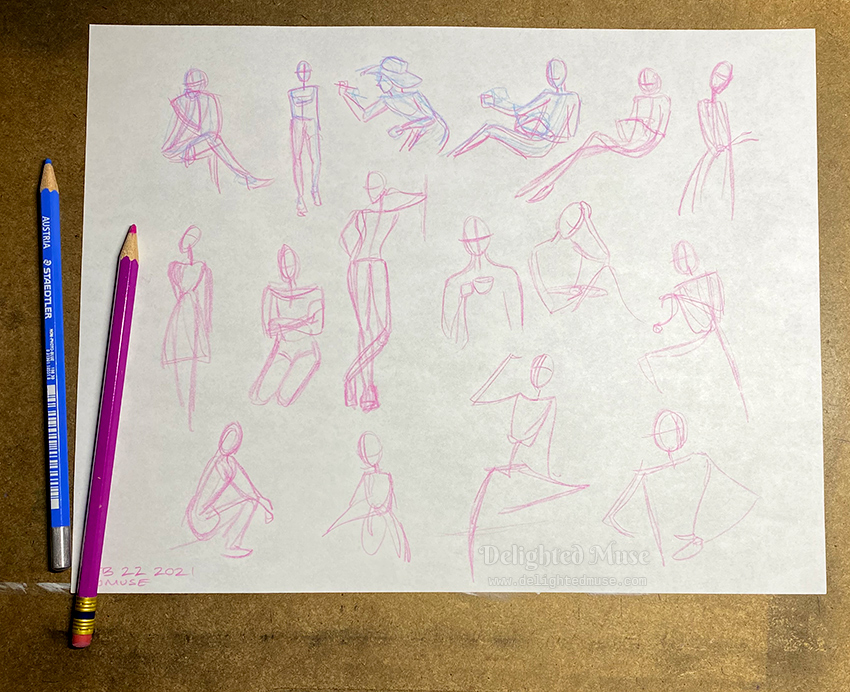 A sheet of white paper with figure gesture drawings in pink and blue pencil