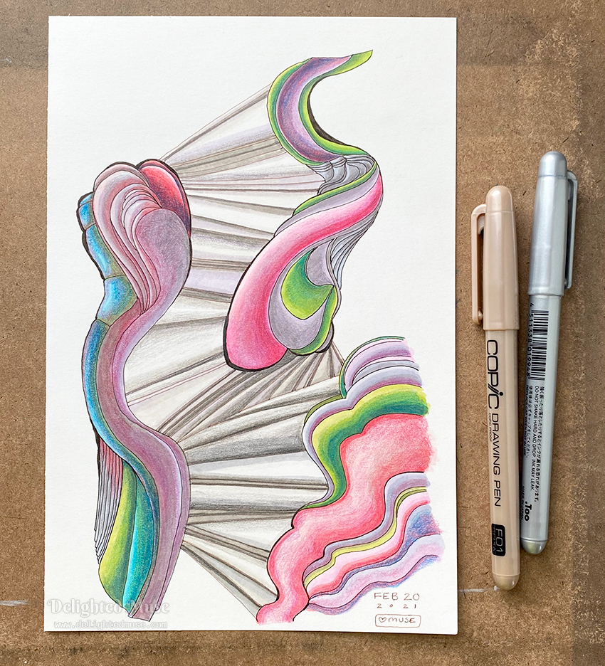 An abstract drawing of waving shapes connected by diagonal lines. Draw with Copic drawing pens and colored with markers and colored pencils.