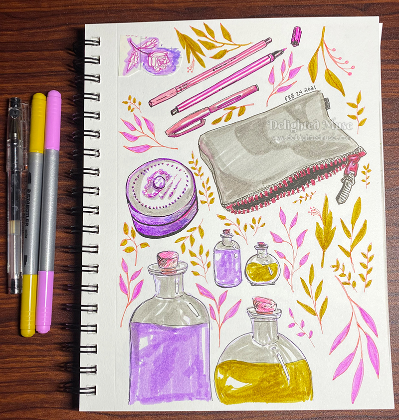 A sketchbook page with marker and fineliner pen drawings of potion bottles, leaves, a zippered pouch, markers, and a lotion tin.