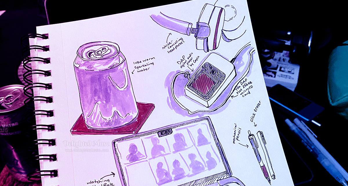 Sketchbook page with ink drawings of objects. Behind the sketchbook is a can of sparking water, a laptop, and a mechanical pencil and eraser.