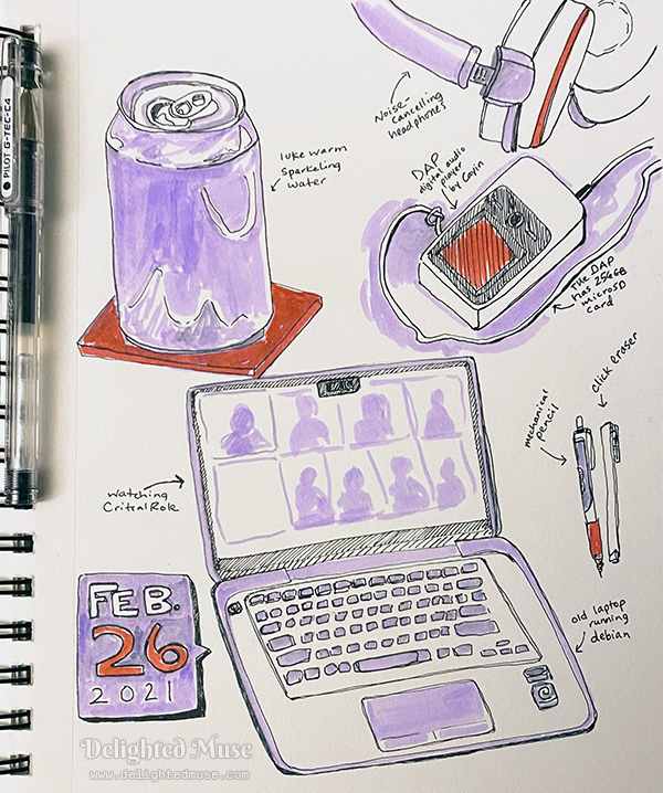 Sketchboko page with ink drawings of a laptop, can of sparkling water, digital audio player, headphones, a mechanical pencil, and a click eraser.