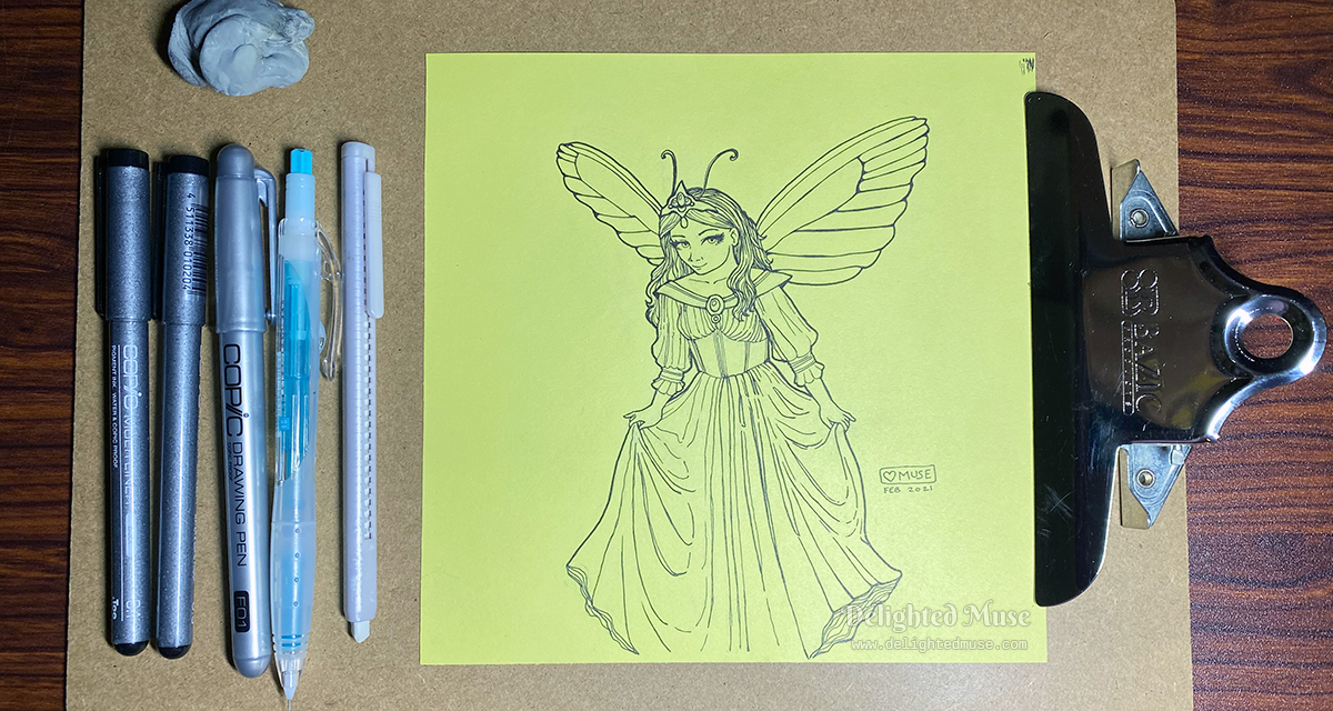 Linear ink drawing of a fairy woman in a long dress, curtsying. Pens are lined up next to the drawing.