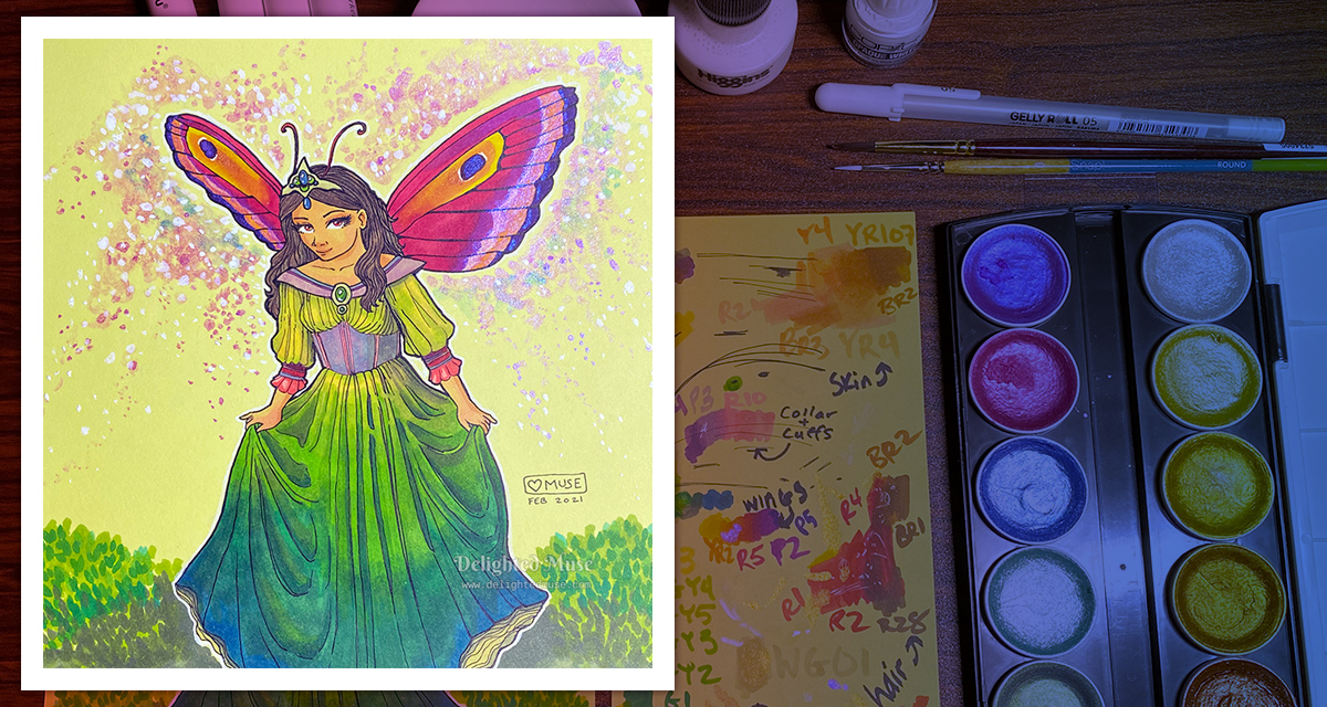 A drawing of a fairy curtseying, next to a scrap paper with test color swatches. A palette of iridescent watercolors is to the right. Above are markers and bottles of white ink.