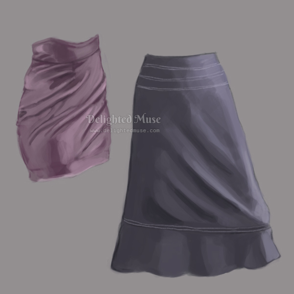 Digital painting of two skirts, one a purple mini skirt and one a loose blue A line blue skirt