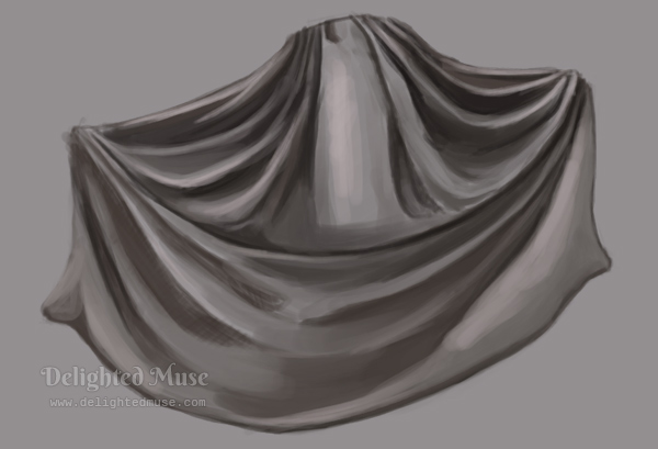 A digital painting of a long pleated skirt