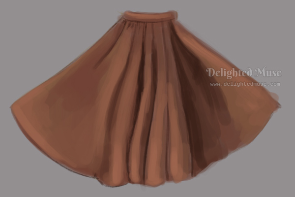 Digital painting of an orange long pleated skirt