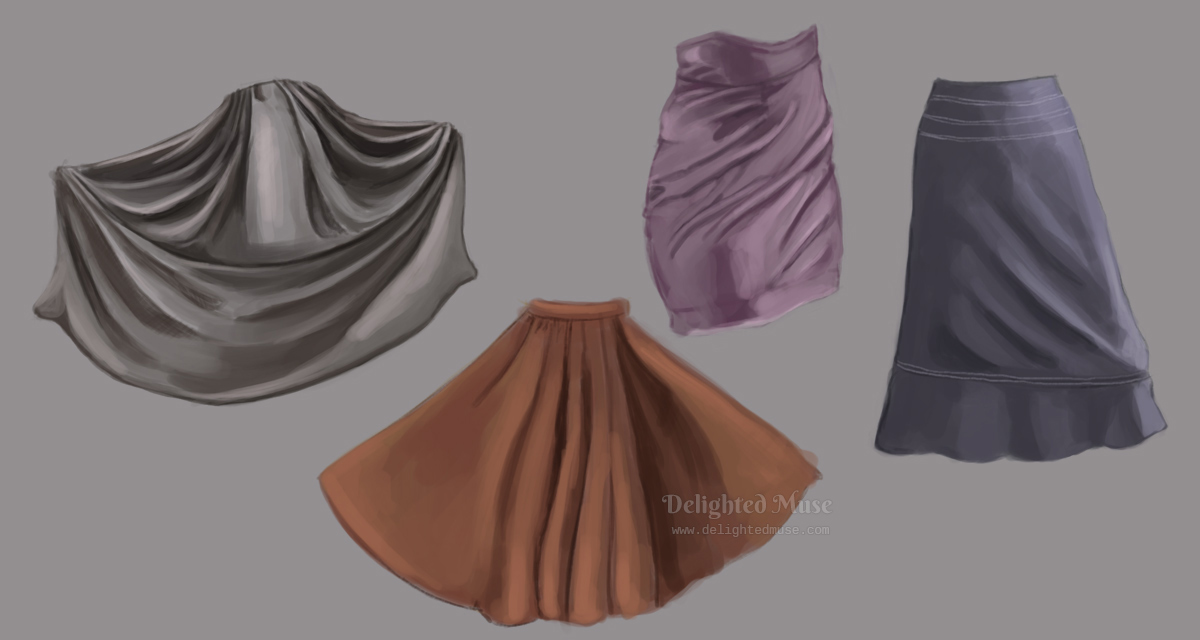 A digital painting of four skirts, with an emphasis on the light and shadow of the folds. Two are long pleated skirts, one an a-line skirt, and one a mini skirt