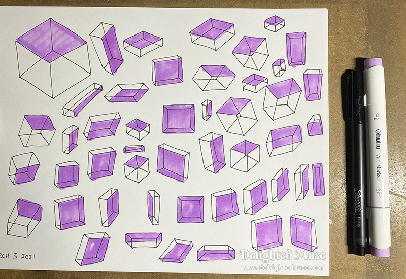 A piece of printer paper with roughly sketched linear boxes, with one plane shaded in purple marker. A sharpie pen and Ohuhu purple marker sit beside the paper.
