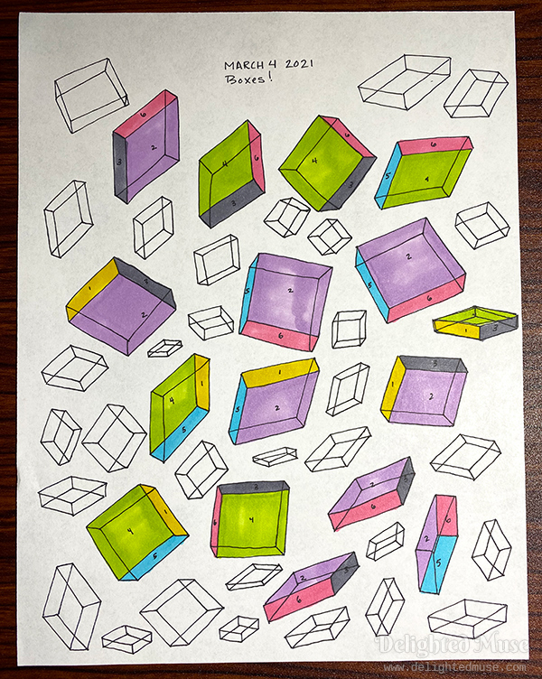 Drawings of boxes rotated in space, with some of the sides colored
