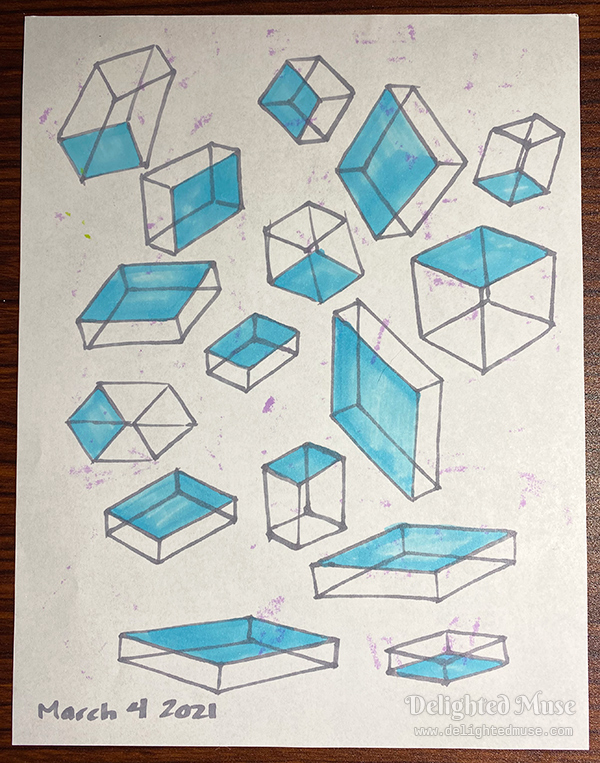 Drawings of boxes rotated in space, with one plane shaded blue.