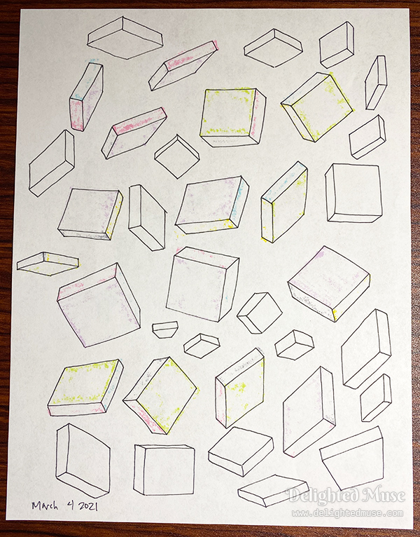Drawings of boxes rotated in space, drawing in black pen.