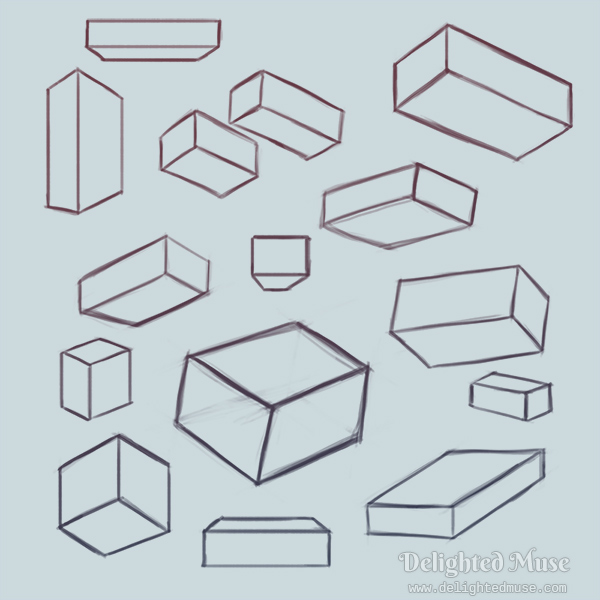 Digital sketch of many boxes rotated in space.