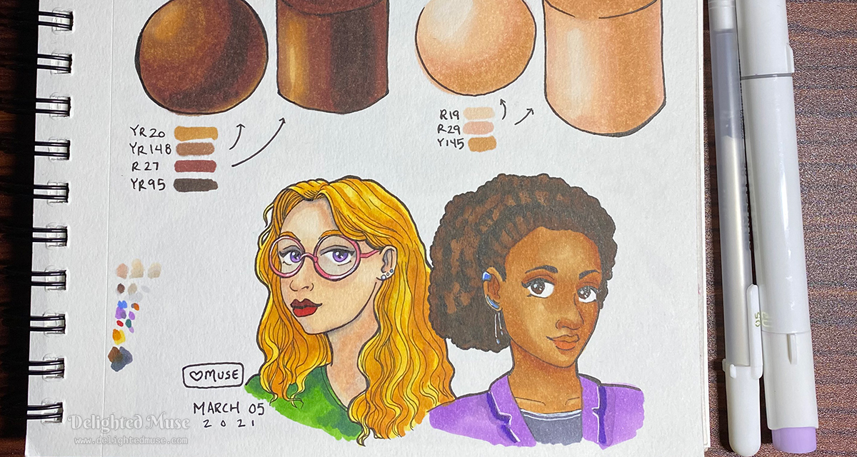 The bottom of a sketchbook page, with a sketch of two women drawn in pen and marker.
