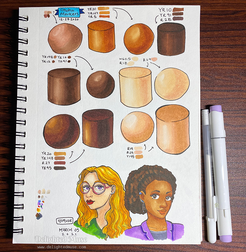 Sketchbook page showing drawings of cylinders and spheres with marker skintone color and shading. At the bottom of the page is a stylized drawing of two women from the shoulders up.. The woman on the left is white and has wavy blond hair. The woman on the right is black and has an afro hairstyle.