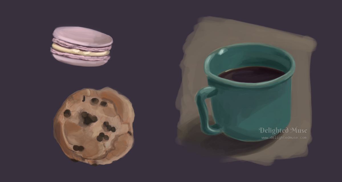 Digital painting of a coffee cup, macaroon, and chocolate chip cookie