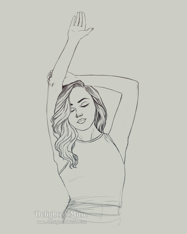 A linear sketch of a woman raising one arm with her eyes closed. The sketch is oriented vertically, with her body upright.