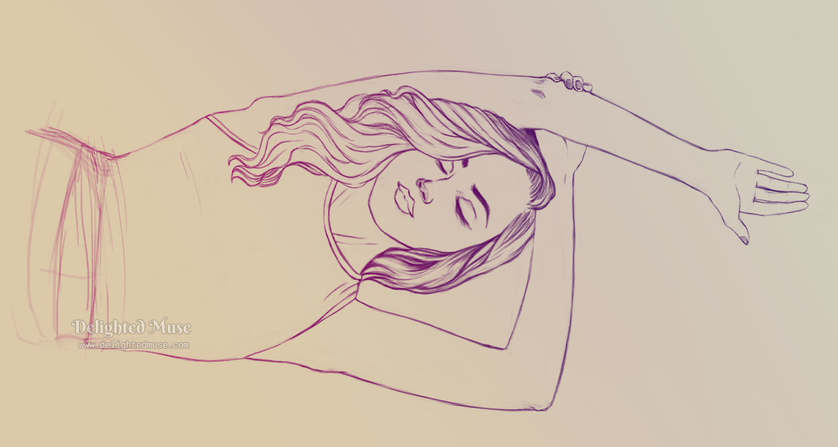 A linear sketch of a woman raising one arm with her eyes closed. The line art has a purple gradient applied and the background is peachy colored. The sketch is oriented horizontally, as if she is laying down.