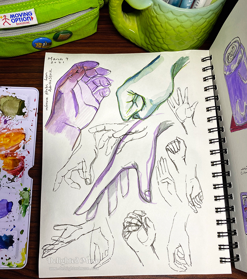 A sketchbook page with drawings of hands, most in ink outline, some with purple and green watercolor.