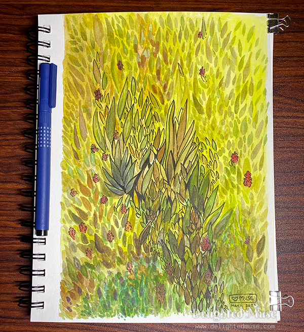 A sketchbook page with a painting of leaf shapes and small red flower clusters.