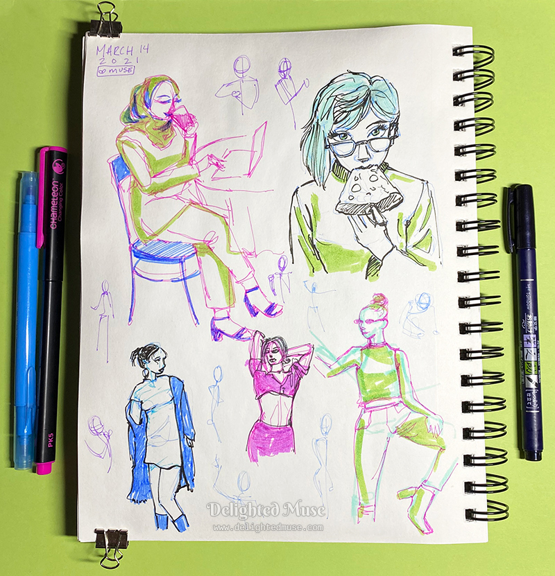 A sketchbook page showing five figure sketches - a woman drinking water, a woman eating pizza, and three women posing while standing.