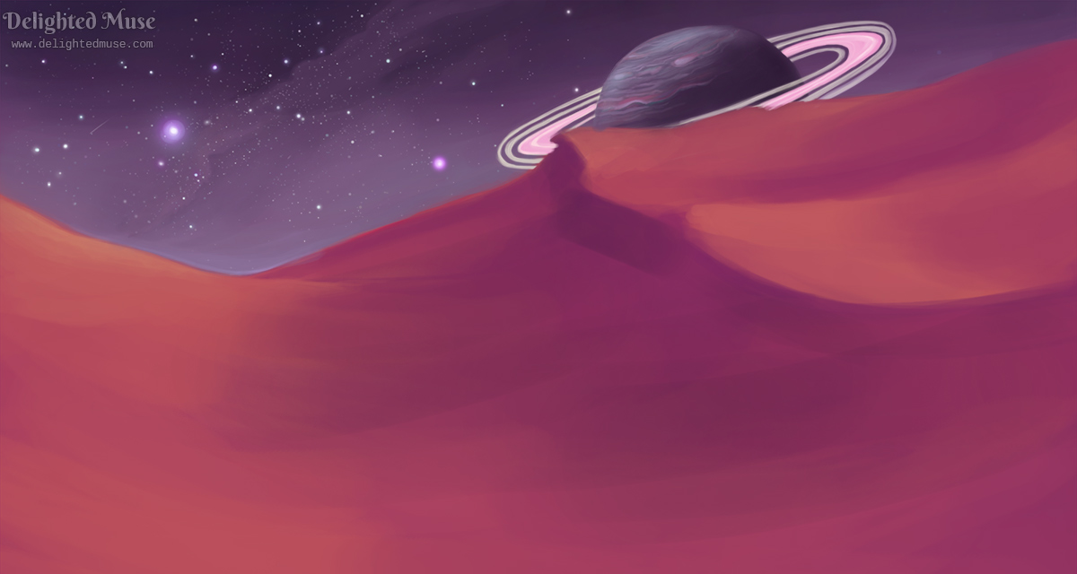 A digital painting of a starry night sky with a Saturn-like planet on the horizon. The landscape is orange and pink sand dunes.