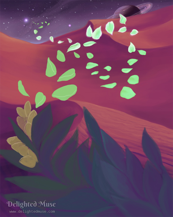 An unfinished digital painting of a flower with glowing petals infront of sandy dunes and a starry night sky of an alien planet. A planet with rings is visible just above the horizon.