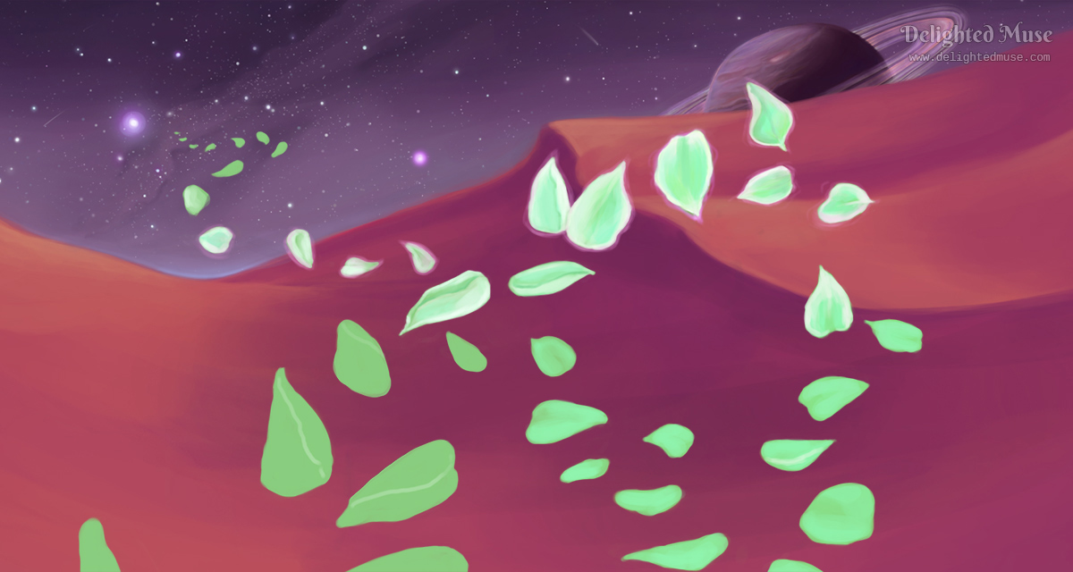 An unfinished digital painting of glowing flower petals in front of sandy dunes and a starry night sky of an alien planet. A planet with rings is visible just above the horizon.