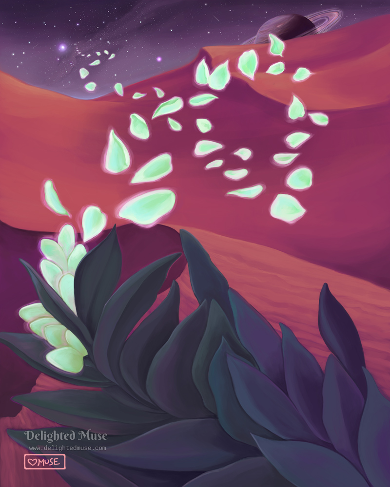 Digital painting of a large plant with glowing green petals. The petals are floating away over sand dunes, towards an alien sky with stars and a ringed planet.