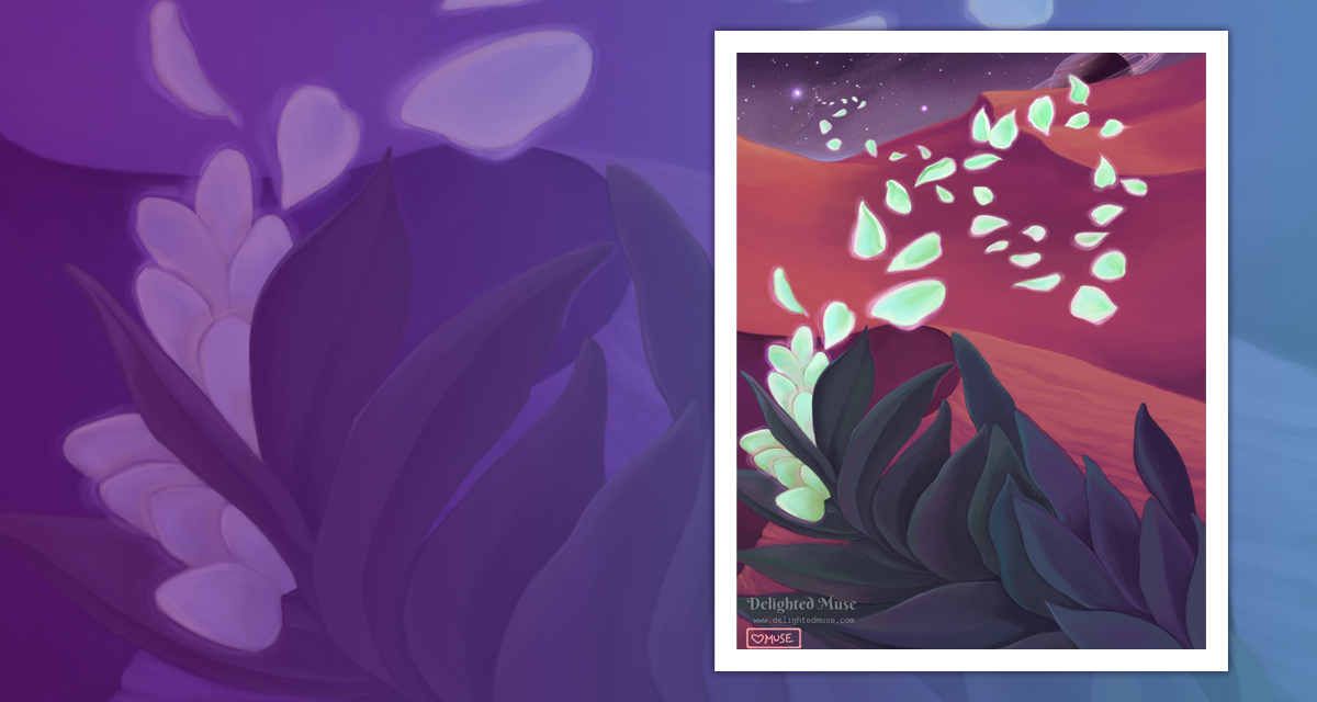 Digital painting of a large plant againt an alien landscape of sand dunes and stars.